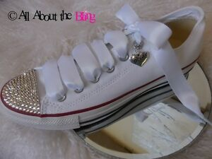 CONVERSE ALL STAR BRIDE SHOE CHARM SWAROVSKI CRYSTALS Wedding  Bride Shower Gift