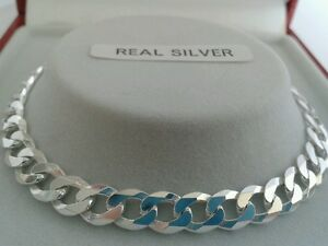 Sterling Silver Ladies Solid Link Curb Bracelet & Heart Charm 7.5 inch 6g.