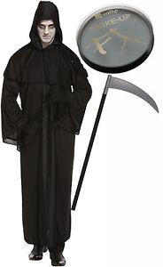 Grim Reaper Muerte Bata Para Hombre Halloween Fancy Dress Costume sythe Pintura de la cara  </span>