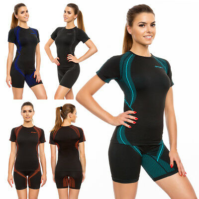 Womens 2pcs Sport Sets Short Sleeves T-shirt Gym Shorts Activewear M-2xl Fg4511 Starke Verpackung
