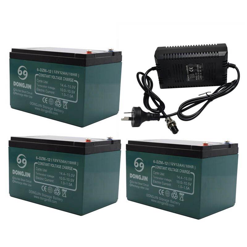 3 Pack of 6-DZM-12 12V 12AH Battery + Charger for Electric Bike Scooter Go Kart