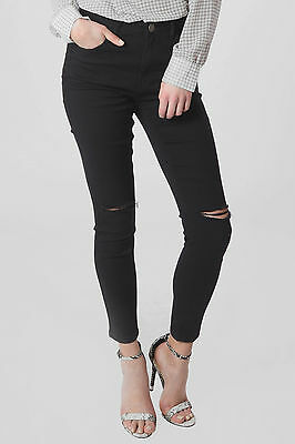 Womens Ripped Knee Skinny Jeans Stretchy Fitted Retro Frayed Torn High Waist