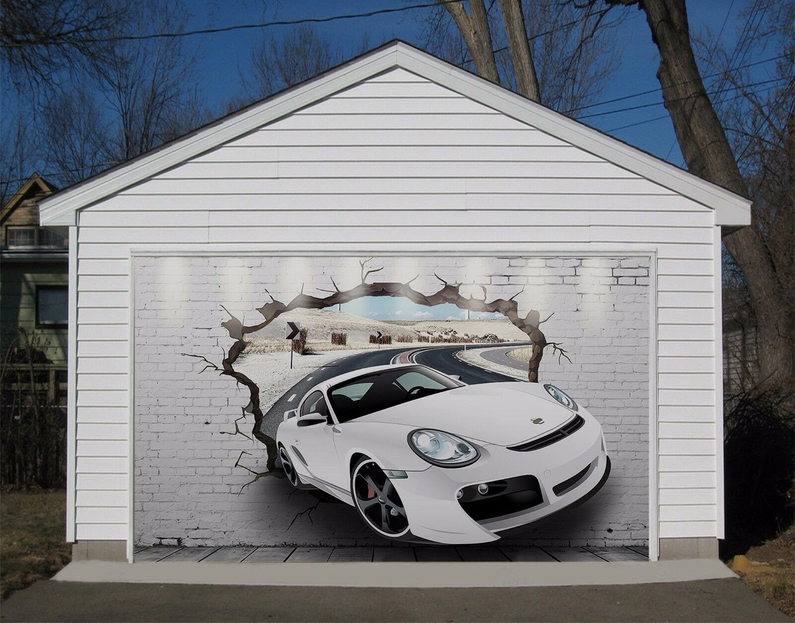 3D Weiß Car 704 Garage Door Murals Wall Print Decal Wall AJ WALLPAPER AU Carly