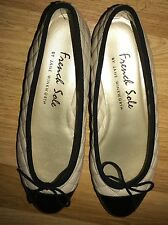 French Sole Simple Beige Black Toe Cap Quilted Leather Ballerina Shoes Flats 38