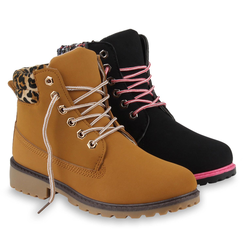 Warm Gefütterte Damen Stiefeletten Stiefel Worker Boots Profilsohle 78395 Schuhe