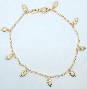 Details About Owl Ankle Bracelet 10 Inch Long 9 Dangle Owls Gold Filled Figaro Link 113