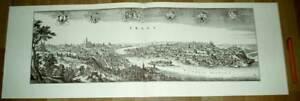 Prag-Praha-Prague-alte-Ansicht-Merian-Druck-Stich-1650-schw-Tschechisch-Stadt