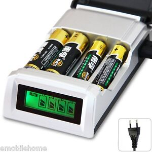 Hour SUPER FAST LCD AA AAA Mains Battery Charger NiMh Or NiCad EU Plug