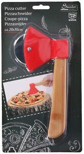 Axt Pizzaschneider Holzgriff Edelstahl Pizzaroller Pizzamesser Pizza Schneider