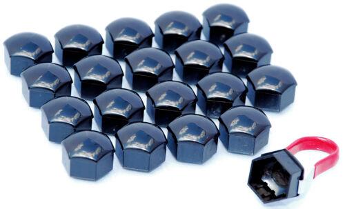 Confezione da 20 NERO LEGA RUOTA BULLONI DADI ALETTE CAPS copre 17mm Hex per VW