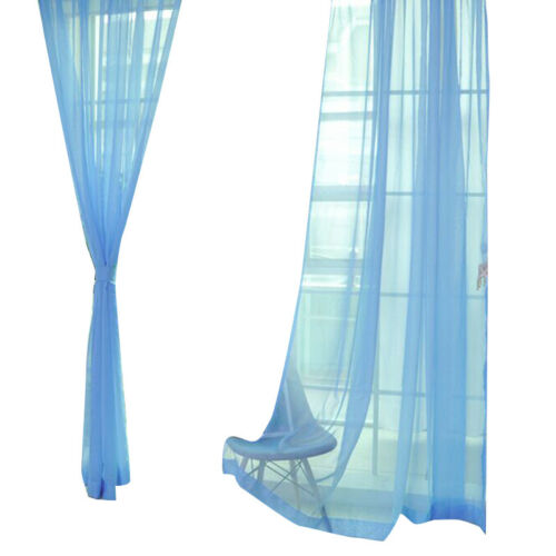 2PC Tulle Voile Window Curtain Solid Drape Panel Sheer Scarf Valances Home Decor
