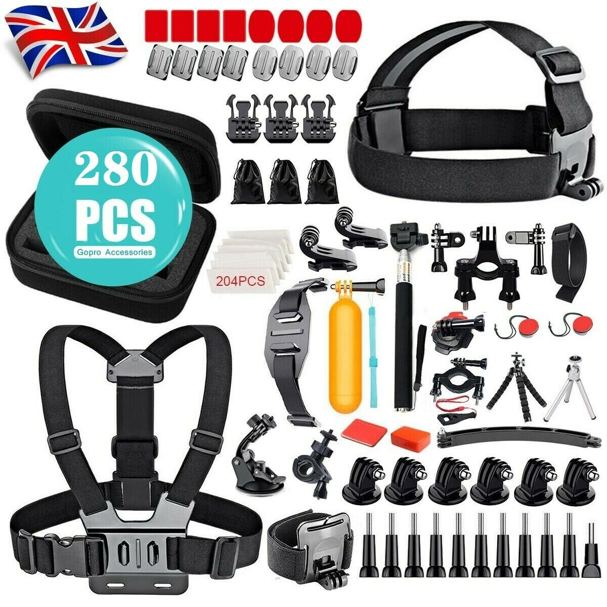 280Pcs GoPro Accessory Kit Action Camera Accessories Head Mount Chest Strap Sets