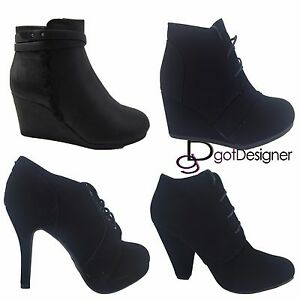 NEW-Womens-Wedge-Bootie-Oxford-High-Heel-Ankle-Boot-Shoes-Fashion-Platform-Black