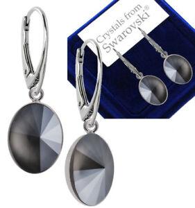 1f882100f 925 Sterling Silver Dangle Earrings Oval Rivoli Dark Grey Swarovski ...