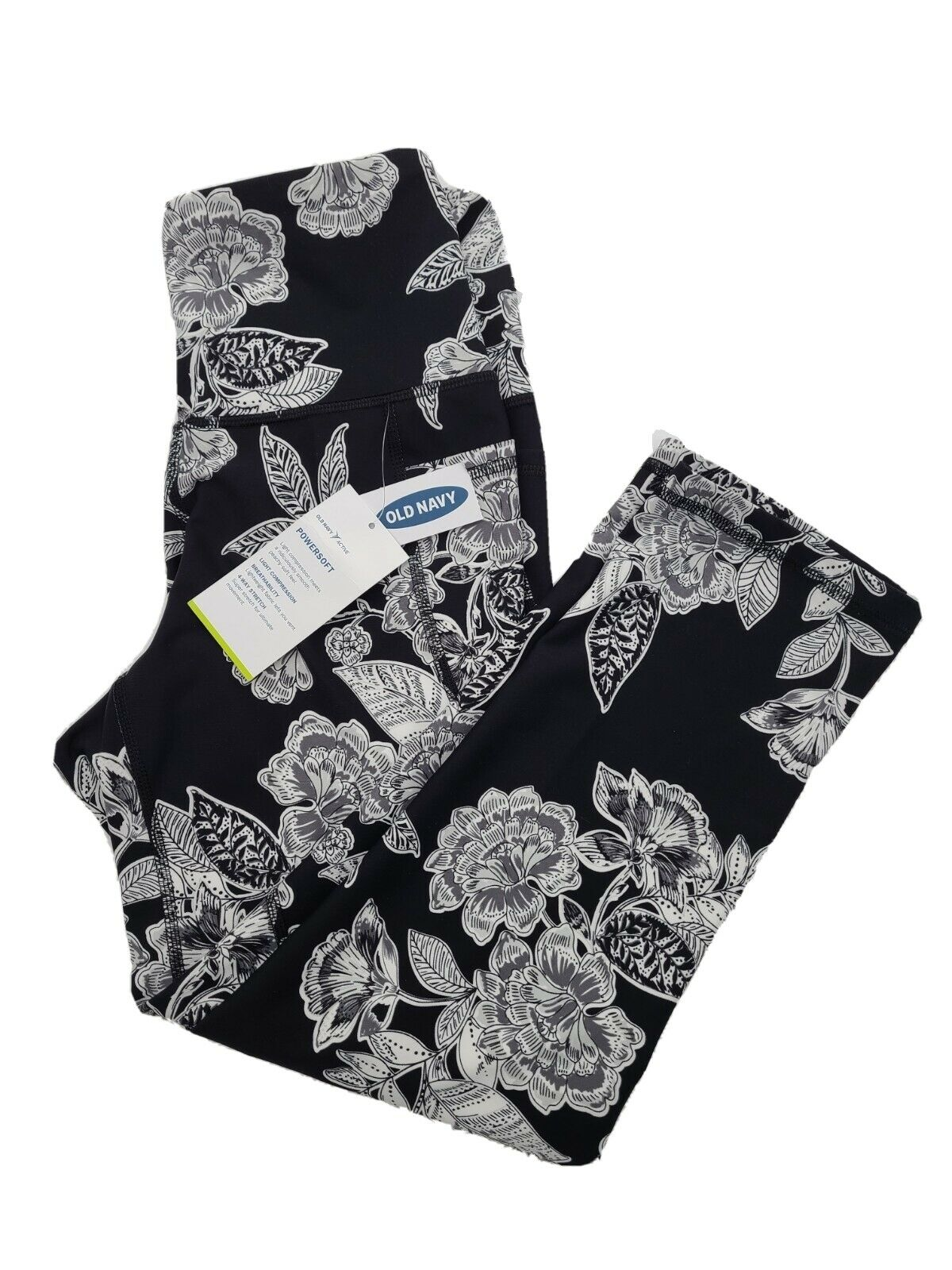Old Navy Size Small High Rise Crop Black Floral Leggings NWT