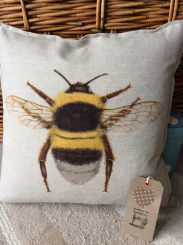 Handmade Cushion Cover Bumblebee Design Style Vintage Traditionnel Mélange De Lin