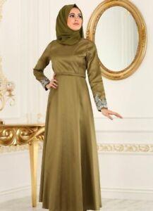 Abendkleid Lang Neu Gr 36 38 Grun Olive Hijab Islam Hochzeit Glanzend Ebay