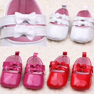 New Baby Infant Girl PU Leather Bow Crib Shoes Soft Sole Toddler Shoes 0-12M