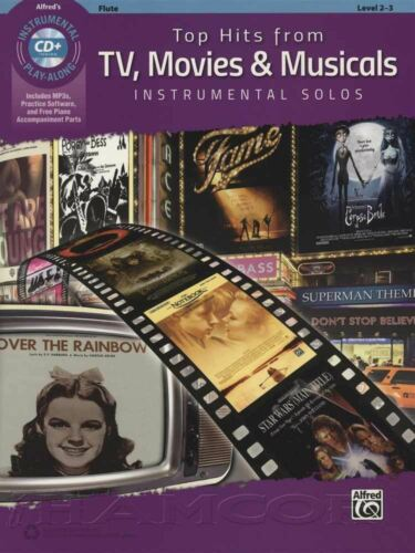 Movies /& Musicals Flute Sheet Music Book /& MP3 CD Top Hits from TV