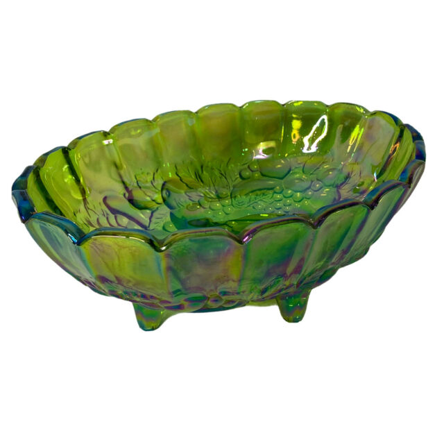 Vintage Carnival Glass Oval Fruit Bowl  Lime Green Iridescent Indiana Footed 12