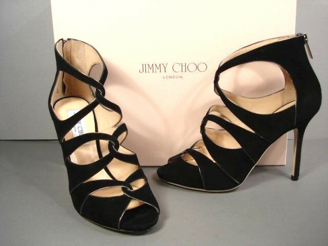 JIMY  CHOO LEASE SUEDE STRAPPY SANDALS HEELS CLASSIC 37  7 NUOVO AUTHENTIC  economico online