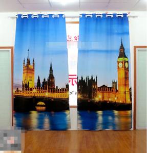 3D cielo Build 35 Cortinas de impresión de cortina de foto Blockout Tela Cortinas Ventana au