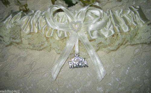 Wedding Party Bridal Ceremony ~Fireman Firefighter~ Ivory Satin /& Lace Garter