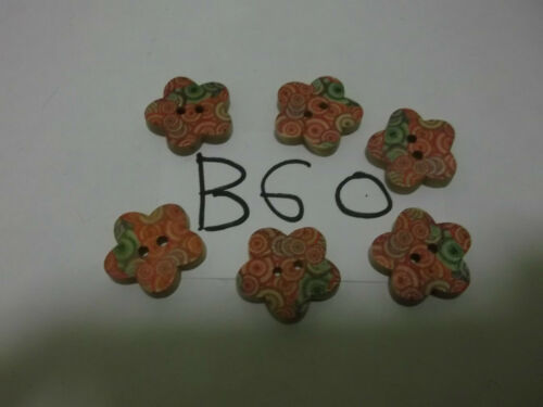 25-50 Flower Shape 17mm Printed Wood Card Craft Sew Buttons Buy2Get 3rd 50/% OFF