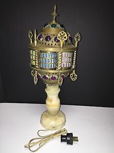Antique Handcrafted Moroccan Jeweled Brass Table Floor