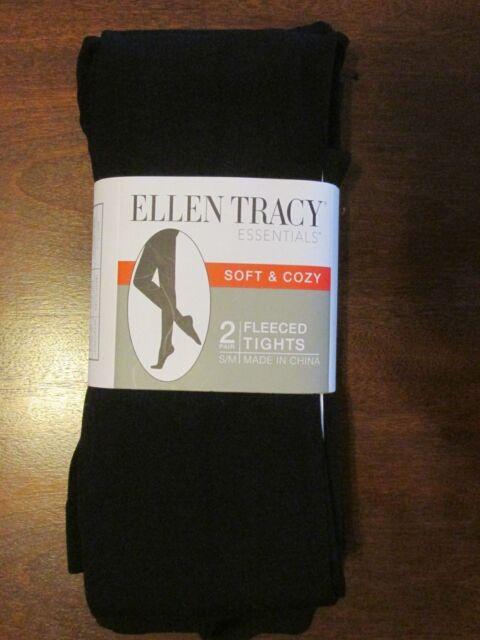 e7ac4b3060178 NEW ELLEN TRACY Women's soft & cozy Black Fleeced footed Tights,size ...