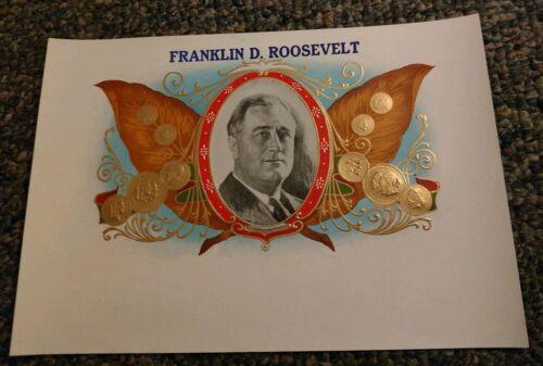 PRESIDENT FRANKLIN DELANO ROOSEVELT INNER CIGAR BOX LABEL ORIGINAL 1940/'s