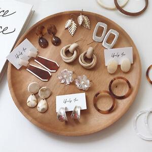 Femme-Acrylique-Marbre-Boucle-d-039-oreille-Geometrie-Crochet-Bijoux-Mode-Cadeau-NF