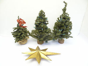 image is loading vintage lot used light up metal wire small - Small Metal Christmas Tree
