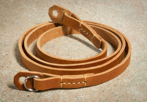 38 inch 10mm wide hand made stitched leather camera strap. Camera ...