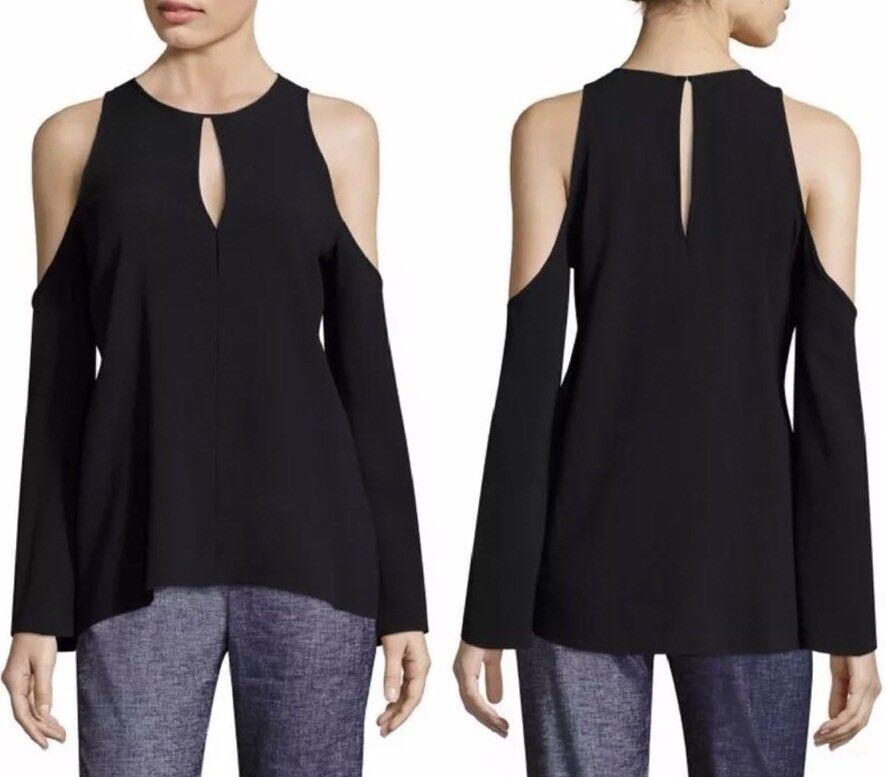 NWT Theory Sarver Rosina Italian Crepe Cold-Shoulder Top Blouse – schwarz - Large
