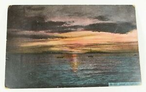 Vintage-Sunset-On-Puget-Town-Early-1900s-Rare-Posted-Postcard-Collectible