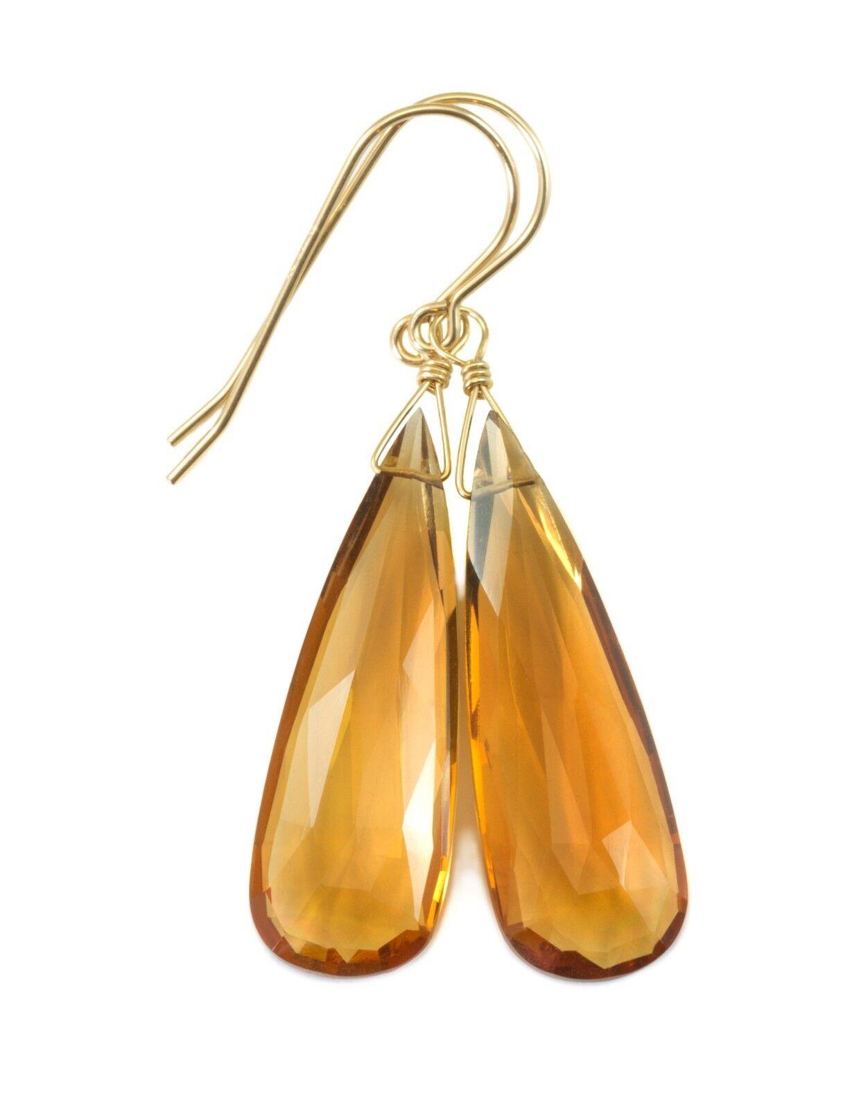 Citrine Earrings Yellow Long Sim Madeira Teardrops Dangles 14k gold Sterling