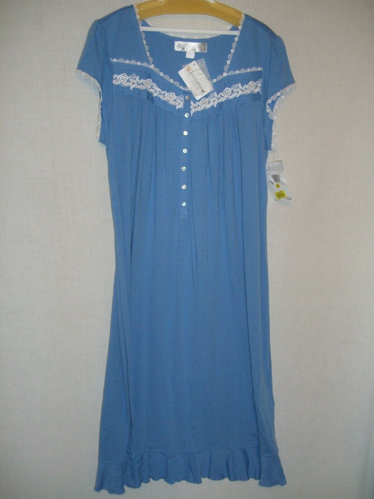 EILEEN WEST bluee Jersey Heirloom Nightgown Gown w  Lace Trim - M - NWT