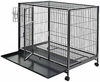 Dog Kennel Crate Large 44 Heavy Duty Metal Double Door Steel Pet Cage Xl Size