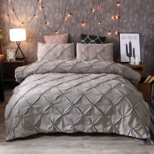 Pinched-Pleat-Down-Alternative-Comforter-Set-Queen-King-Size-Bed-Pillow-Shams