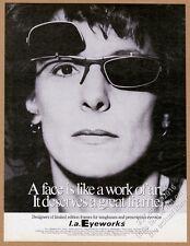 1994 Elizabeth Streb photo L.A. Eyeworks glasses vintage print ad