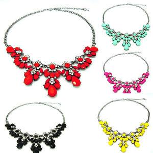 Rhinestone-Crystal-Flower-Choker-Collar-Chunky-Statement-Bib-Necklace-Jewelry