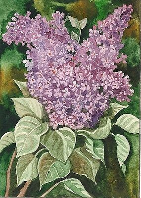 5x7 PRINT of WATERCOLOR PAINTING RYTA ANTIQUE VICTORIAN STYLE LILAC FOLK FLOWERS