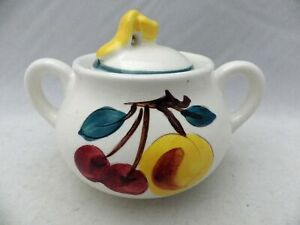 Stangl-Pottery-Fruit-Pattern-Sugar-Bowl-with-Lid-5-3-4-034-wide-EUC