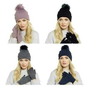 Ladies-Hat-and-Touch-Screen-Gloves-Winter-Set-Bobble-Pom-Gift-Knitted-iPhone