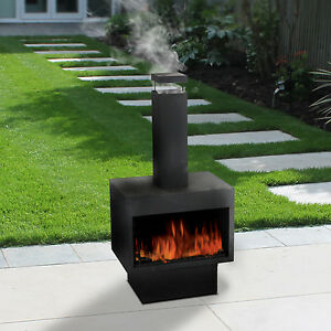 Outdoor Fire Pit Metal Chiminea Log Wood Burner Garden