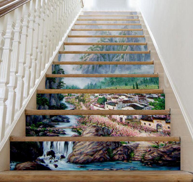 3D Town water flow Stair Risers Decoration Photo Mural Vinyl Decal Wallpaper AU