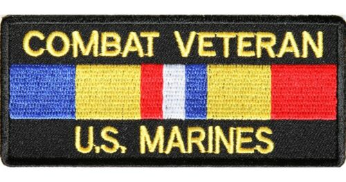 "Combat Veteran Marines Patch 4/"" x 2/"" by Ivamis Trading P1259 Free Shipping"