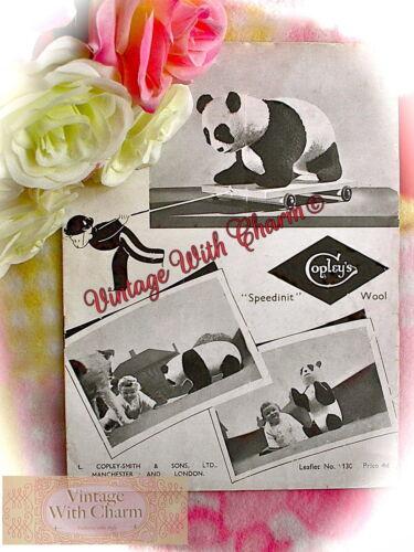 Vintage 1940s Toy Knitting Pattern /'Baby Giant Panda/' 21in High 11½in Long