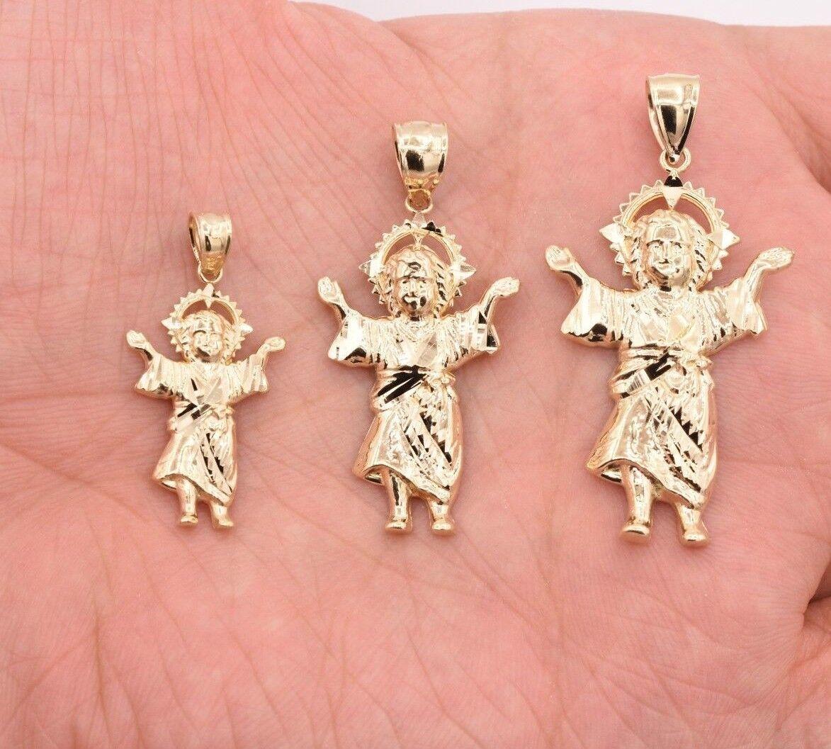 Divino Nino Baby Jesus Religious Diamond Cut Charm Pendant Solid 10K Yellow gold